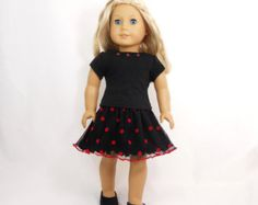 3 PC Tulle Skirt and Black Top and Bracelet for American Girl Dolls ONLY SET