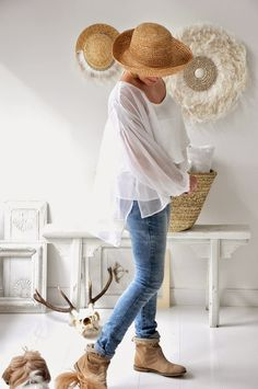 white, denim and booties