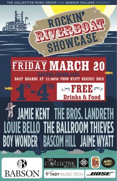 Rockin' Riverboat Showcase feat. Jamie Kent, The Bros. Landreth & More | Friday, March 20, 2015 | 12:30pm boarding; 1-4pm cruise | Capitol Cruise Line: Hyatt Regency Dock, 	208 Barton Springs Rd., Austin, TX 78704 | Live performances, free drinks | Free with RSVP via Do512: http://2015.do512.com/babsonrockinriverboatshowcase2015