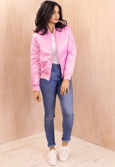MA1 Detail Padded Satin Finish Bomber Jacket in Baby Pink