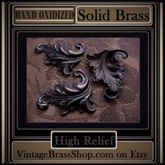"""2PC #GORGEOUS #FRENCH """"CARVED"""" #DAPPED #LEAVES    Qualifies for $2.75 MAX USA Shipping w/ free add-ons of 175+ items in shop.    #Handoxidized with deep #brown to brown/black #patina    Sturdy construction but still lightweight with hollowback    Measurement 1 3/4 inches long by 1 3/8 inches wide (longest/widest points)    Genuine brass. Nickel and lead free. #MadeintheUSA    Hand crafted patina with natural matte finish...no oils or polish.    Hand Oxidized And Naturally Aged…"""