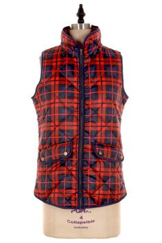 Skye Plaid Quilted Puffer Vest - Red + Navy
