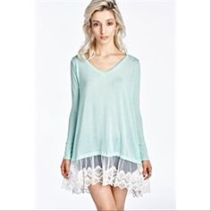 COMING SOON!! Light Mint Tunic W/Lace on Bottom I will have all sizes available this week: S(2-4), M(6-8), & L(10-12). This is a beautiful light mint colored tunic top (or dress) with sheer, lace detail bordering the bottom. The black pic is just to show it styled. All other colors except for mint were sold out, but I thought the mint was the nicest anyways! I will be selling these for $30, which is firm unless bundled. You can pre-order now and let me know what size you want and I'll send…