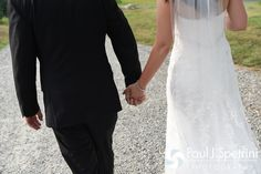 Lauryn and Justin take a walk during their July 2016 wedding reception at the Overlook at Geer Tree Farm in Griswold, Connecticut.To see more photos from Justin and Lauryn's wedding, please visit http:// www.tinyurl.com/JustinAndLauryn (Copyright 2016: Paul J. Spetrini Photography)