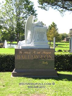 Baillargeon Family Estate With White Marble Angel Statue Monument in Dallas  TX by West Memorials
