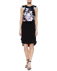 Baguette-Sequin Beading Dress, Black Multi, Women's, Size: 10, Multi Colors - Tibi