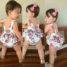 Best 12 Can't get enough of this Cute Floral Baby Girl Shorts and Headband! Baby Ruffle Romper, Baby Girl Romper, Cute Baby Girl, Little Girl Dresses, Baby Girl Newborn, Baby Boys, Outfits Niños, Kids Outfits, Baby Girl Fashion