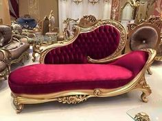 Red Rococo Chaise Lounge