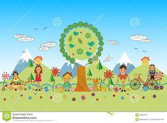 Дети играя в иллюстрации шаржа вектора парка Иллюстрация вектора - изображение: 95907877