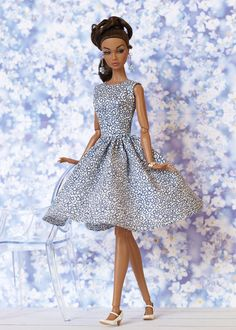 White Blue Flowered Dress for Nu Face Poppy Parker by Olgaomi | eBay