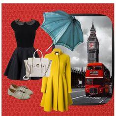 ...........MODE FANTAISIE...........  Elle porte une robe noir. Elle a un parapluie bleue. Elle porte un manteau jaune. Elle a un sac à main, et des chasseurs gris .