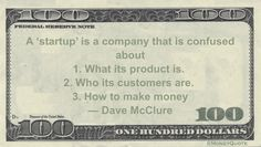 Dave McClure Money Quotation saying Start up is lost and confused about every aspect of business until no longer a startup