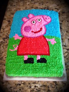 Peppa Pig cake. Simple star cake decorating tip used to create this super cute cake for my daughters birthday! This cake coordinates with my daughters invitation.