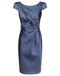 Chrome Stretch Taffeta Dress with Waist Motif