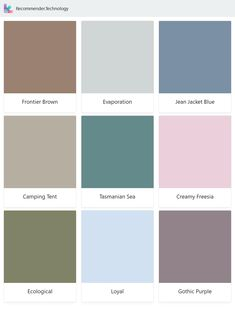 Frontier Brown, Camping Tent, Ecological, Evaporation, Tasmanian Sea, Loyal, Jean Jacket Blue, Creamy Freesia, Gothic Purple