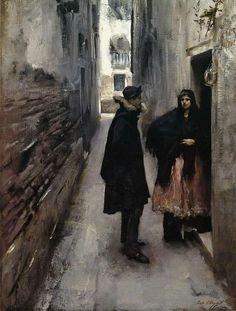John Singer Sargent (January 12, 1856 – April 14, 1925), A Street in Venice, c. 1880-1882, Sterling Francine Clark Art Insitute, Williamstown Massachusetts, oil on canvas #Venice