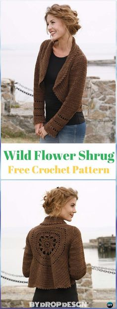 Crochet Wild Flower Shrug Free Pattern - Crochet Women Shrug Cardigan Free Pattern