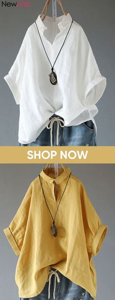 Great Images Sewing clothes shirts Tips Casual Half Bat Sleeve V Neck Lapel Shirt Casual Shirts, Casual Outfits, Cute Outfits, Mode Monochrome, Boho Fashion, Fashion Outfits, White Shirts, Linen Shirts, Linen Blouse