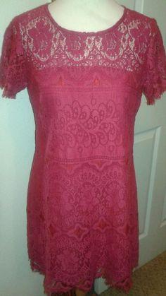 Free People Lace Dress Short Sleeve Raspberry SZ 6 Fringe/Raw edge Hem #FreePeople #TeaDress #Cocktail
