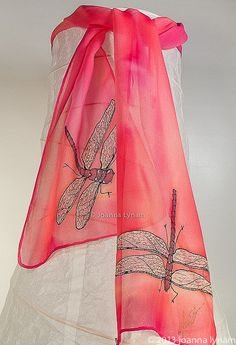 Silk Dragonfly Scarf.  Hand painted silk chiffon by SirenSilks, $45.00