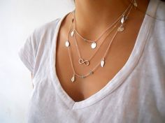 Silver Layered Necklace Set. Charms Necklace. Infinity Necklace. Long Silver Necklace