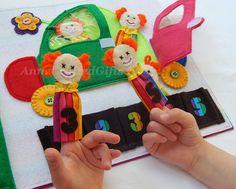Quiet Book Page, Busy Book Page, Toddler or Preschooler Activity Book, Fine Motor, Felt,Finger Puppets, Clown, Toddler Quiet Activity Book