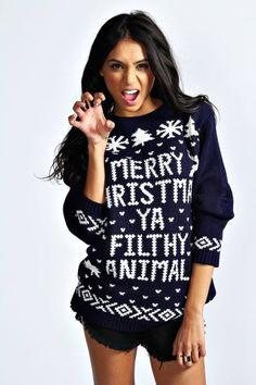Merry Christmas Ya Filthy Animal Sweater Blue Shop at: http://www.uglychristmassweatersale.com/product/merry-christmas-ya-filthy-animal-sweater-blue-xmas03/ FREE Shipping All sizes available! Here is a Christmas sweater quoting a line from the Classic movie Home Alone making it one hilarious and ugly Xmas sweater to wear for the holidays with your friends and family. The famous line Merry Christmas Ya Filthy Animal is a perfect choice for this years Ugly Christmas sweater Party