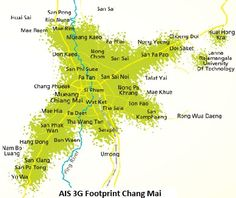 AIS 1 2 Call 3G Network Coverage In Chiang Mai, Thailand. Chiang Mai, Sims, Thailand, Map, Technology, Cards, Tech, Tecnologia, Engineering
