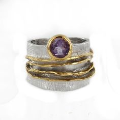 Sterling Silver and Vermeil Round Amethyst Etched Ring by Marija $265.00 #jewelry