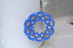 Tatted earrings Lace jewelry Frivolite Beaded by Ilfilochiaro