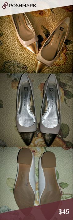 Thanksgiving sale!  Brand new and unworn beautiful leather Anne Klein iflex nude flats with gold pointy toe. Beautiful and classic. Matches with everything! Women's size 8.5. Anne Klein Shoes Flats & Loafers