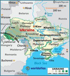 Ukraine large color map