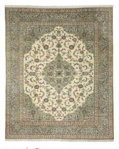 EORC X28734 Ivory Hand Knotted Wool Kashan Rug (10' x 12'4)