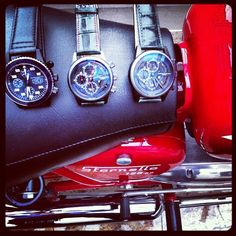 Moto Guzzi with #mauricedemauriac http://mauricedemauriac.ch/  watches. Swiss watches, men's watches, watches for men, women's watches.