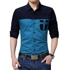 Turn-Down Collar Color Block Splicing Corduroy Pocket Long Sleeve Men's Shirt