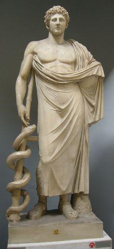 En la mitología griega, Asclepio o Asclepios (en griego Ἀσκληπιός), Esculapio para los romanos, fue el dios de la medicina y la curación, venerado en Grecia en varios santuarios. El más importante era el de Epidauro en el Peloponeso donde se desarrolló una verdadera escuela de medicina. Se dice que la familia de Hipócrates descendía de este dios. Sus atributos se representan con serpientes enrolladas en un bastón, piñas, coronas de laurel, una cabra o un perro.