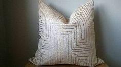 Designer Fabric metallic gold geometric pillow cover gray off white modern glam rustic luxe toss cushion throw euro sham lumbar hollywood