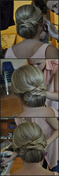 A classic bridal updo. Low chignon with intricate details to create texture and interest. Follow the link for more wedding hair ideas.: #UpdosClassic