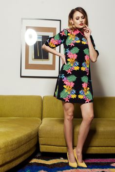 PrettyGirl Colorful Spring Black Dress, nonelastic fabric, floral prints, one back botton fastening, the sleeve is attached with a button, 3/4 sleeves, round collar