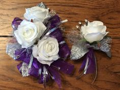 Purple Silver Corsage and Boutonniere Set by FlorescenceByDesign