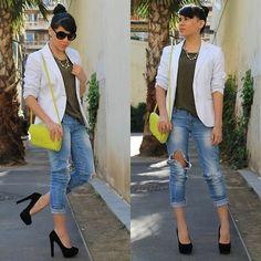 jeans and blazer blanco