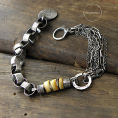 Sterling silver and amber bracelet - chain bracelet