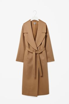 Wide lapel wool coat
