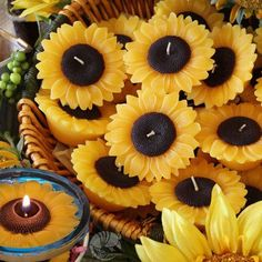 """Floating Flower Candles - Sunflowers are cheerful, colorful, long -burning and perfect for a classy """"country"""" wedding rec - Sunflower Party, Sunflower Baby Showers, Sunflower Wedding Favors, Sunflower Centerpieces, Centerpiece Flowers, Fall Sunflower Weddings, Sunflower Cookies, Sunflower Seeds, Floating Flowers"""