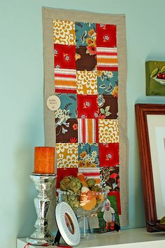 Quilt: I like the idea of a small scale quilt to hang on the wall...could do seasonal colors to help make the house feel festive.
