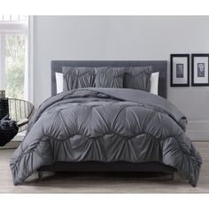 8 Piece Leah Gray Bed in a Bag w/500TC Cotton Sheet Set