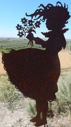 Windy Girl Large Vintage Metal Silhouette For the Garden or Yard Art or Memorial Sculpture/Shadow Art for Garden Walls Metal Yard Art, Scrap Metal Art, Windy Girl, Corregated Metal, Welding Art Projects, Metal Welding, Shadow Art, Iron Art, Rustic Gardens