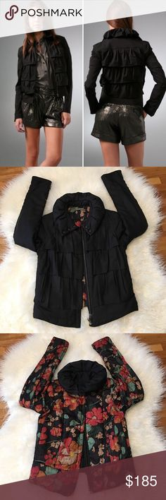DVF Cupcake Reversible Bomber Jacket Size 6 In Excellent Used Condition. This reversible, lightweight puffer jacket features pleated tiers. 3-snap closure at funnel collar and hidden zip closure at front. Long sleeves. On-seam hip pockets at jacquard, floral-print lining. Diane von Furstenberg Jackets & Coats