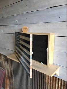 Rustic Thin Blue Line Wood Flag Hidden Gun Concealment Cabinet Woodworking Furniture Plans, Woodworking Projects, Teds Woodworking, Woodworking Store, Bar Outdoor, Hidden Gun Storage, American Flag Wood, Wood Flag, Diy Wood Projects
