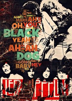 Led Zeppelin art print poster BLACK DOG #lyrics cotton canvas by Artistico